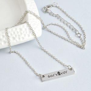 Jewelry - Silver Survivor Bar Tag Pendant Necklace